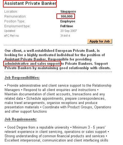 Assistant Private Banker job